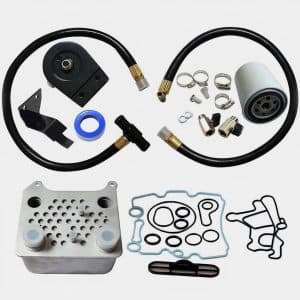 Oil Cooler wGasket and Coolant Filtration System Kit Powerstroke 6L